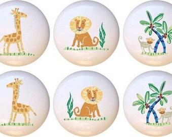 Set Of 10 African Safari Wildlife Kids Ceramic Drawer Pull Cabinet Knobs