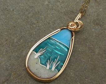 Cloisonne Beach Scene Necklace with Real Sand from Pensacola's Gulf Coast Fired in the Sand Dunes Gulf Shores 30A Rosemary Beach Destin