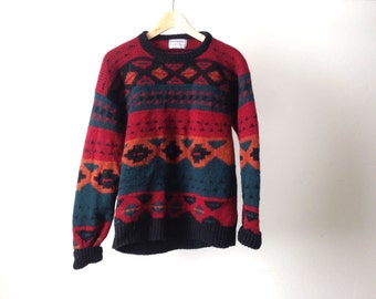 vintage wool SOUTHWEST 90s bright IKAT style navajo SWEATER slouchy top