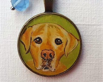 Yellow lab necklace, hand painted necklace, Valentine's day gift, for her, cameo pendant,