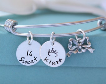 Personalized Sweet 16 Charm Bracelet, Personalized Name Bracelet, Sweet 16 Jewelry, Adjustable Charm Bracelet, Sweet 16 Girls Gift, Silver