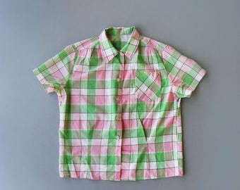 Vintage 1950s Blouse. 50s Blouse. 50s Pink Blouse. 50s Green Blouse. Checkered Blouse. 50s Cotton Blouse. Tomboy Style. Size Large.
