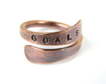 GOALS Ring, Goals Copper Ring, Stamped Goals Copper Ring, Antiqued Copper Goals Ring