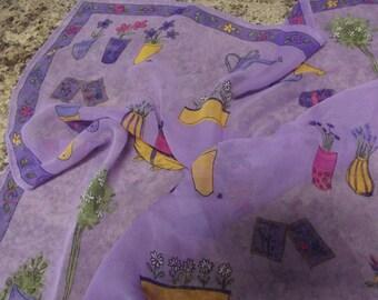 Vintage Purple Chiffon Scarf - GARDENING pattern - very cute