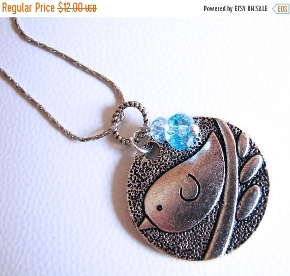 SPRING SALE Birdie Necklace, Aquamarine Bird Necklace, March Birthstone Necklace, Aquamarine Birthstone Necklace, Birdie Necklace, Blue Bird
