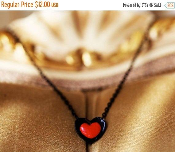 SPRING SALE My Black Heart, Black Heart Necklace, Decadent Heart Necklace, Dark Heart Necklace, Red Heart Necklace, Black Chain Necklace
