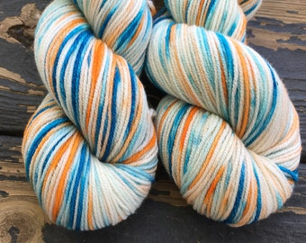 "Hand Dyed Cashmerino Yarn, ""Perry the Platypus,"" DK Weight, 3.5 oz/100 g, 275 yards/250 m, Shades of Blue, Orange, Cashmere Merino Blend"