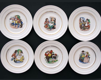 8 vintage French dessert plates, decoratives plate, Grimm fairy tail collection, Red Riding Hood,