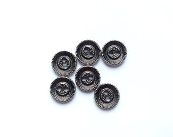 6 Silver Metal Buttons, Antique Silver Buttons