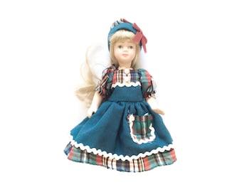Vintage Porcelain Doll, Blond Doll, Dress