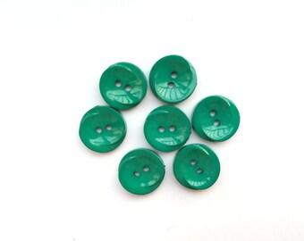 7 Mint Green Flat Vintage Plastic Buttons, 15mm
