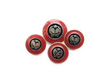 4 Tennis Buttons, Metal, Red, Silver, Navy, Shank