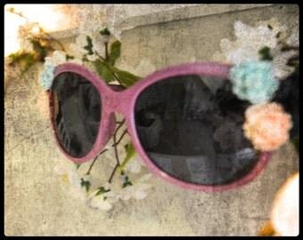REDUCED Italian Designer Fashion Floral Sunglasses Lavender Cat Eye Clearance Boho Beach Wear