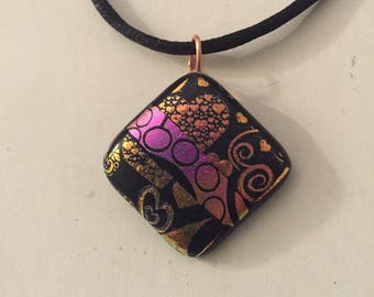 Fused dichroic glass pendant necklace black hearts and pink spirals