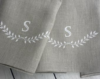Monogrammed linen tea towel, personalized towel, linen towel, navy towel, brown linen towel, personalized gift