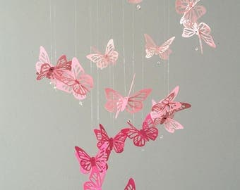 Spiral Butterfly Chandelier Mobile - Ombré Pink, nursery mobile, baby girl mobile, photo prop, baby mobile, 3D mobile