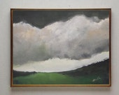 "Original acrylic painting - abstract landscape painting - clouds painting - grey sky  - 9""x12"" Vesna Antic"