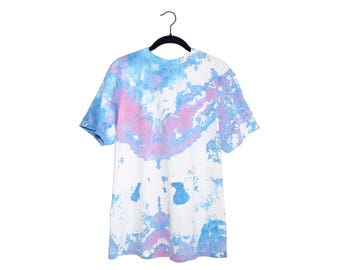 Vintage Unique Blue & Pink Tie Dye White 100% Cotton Crewneck T-Shirt, Made in USA - Large