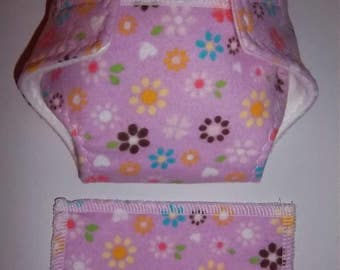 Baby Doll Diaper/wipe - pretty flowers, white hearts  - adjustable for many dolls such as bitty baby