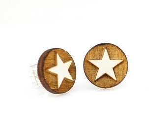 Western Star Studs -  Laser Cut Earrings from Reforested Wood