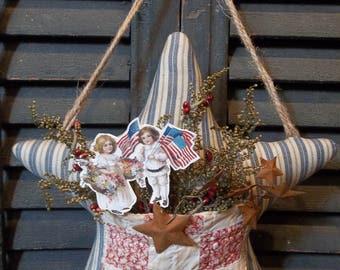 Sweet Primitive Handmade Americana Star Door Greeter/Peg Hanger