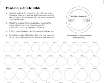 FREE ring sizer chart and International ring sizing info