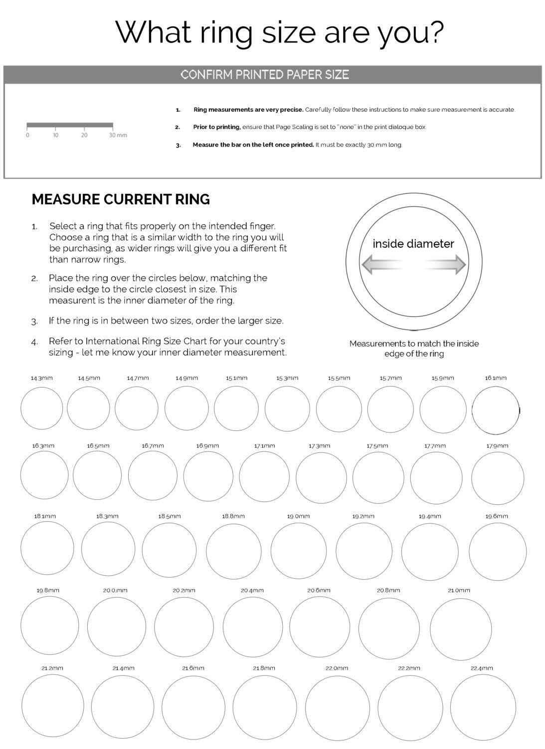 It's just an image of Invaluable Printable Ring Chart