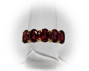 Sterling Silver (Red Tourmaline) Multi Stone Band