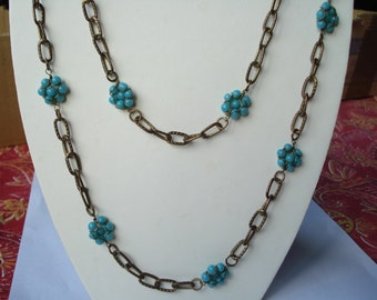 Vintage Long Turquoise Glass Necklace 1970's