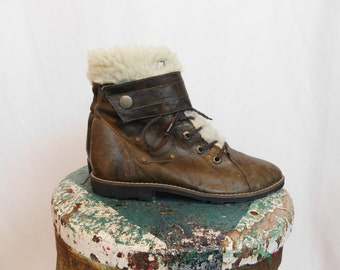 Vintage Leather Ankle Boots With Faux Sherpa Lining Buskens Brand Size 7.5, Euro 38, UK 5.5
