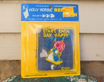 Vintage Deadstock Denim Hollie Hobbie Sew On / Iron On Repair Patch, Start Each Day Happy, 1970's Iron On