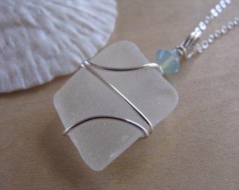 SALE Sea Glass Jewelry Sea Glass Necklace Beach Glass with Aqua Bead