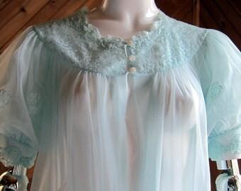 Vintage Lingerie   Vintage Lace Peignoir Robe   Vintage Lace Negligee   Vintage lingerie 50s 60s   Sexy Lingerie   See Through Sexy Lingerie