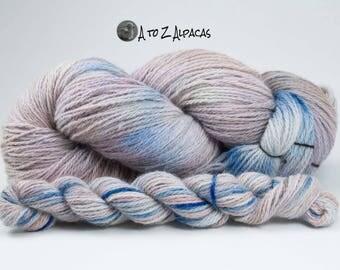 Hand Dyed Alpaca Yarn, Worsted Weight 100% Alpaca from our farm! Peek a Blue