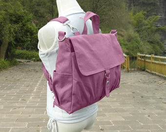 Purple canvas backpack, unisex canvas bag, school bag for boys and girls