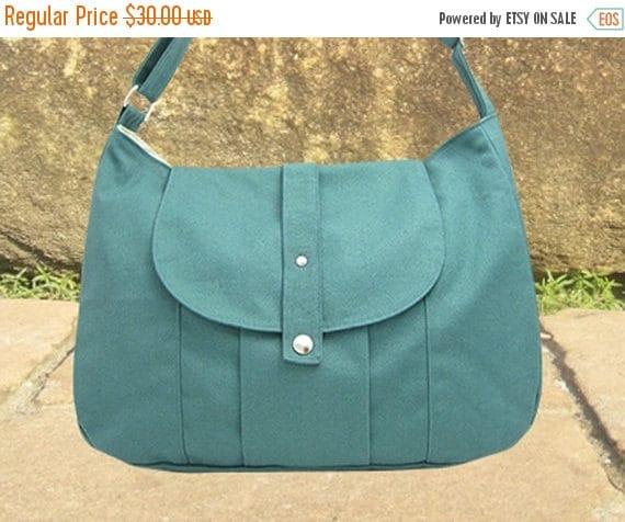 Mothers Day Sale 20% off Teal green cotton canvas messenger bag / shoulder bag / everyday bag / diaper bag / cross body bag - 6 pockets