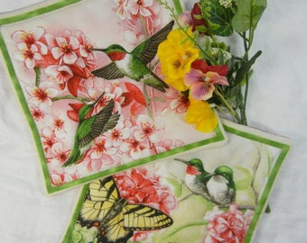 Quilted Serving Trivets (2) - Hummingbirds and Butterflies Set #1