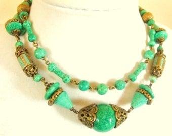 Czech Nouveau Peking glass, enamel and gilded filigree necklace  Deco egyptian necklace Neiger?