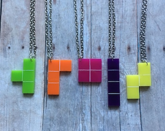 Best friends tetris necklace set