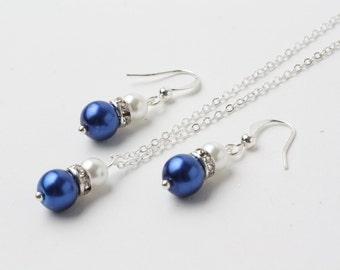 Royal blue Bridesmaid jewelry set, Royal blue earrings and necklace set, Royal blue wedding jewelry, Royal blue pearl jewelry set, gift