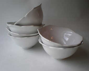 Vintage Set of Six White Lotus Bowls
