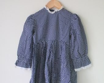 Vintage POLKA DOT Sailor Nautical Dress...size 2 3 4 girls...blue dress. girls. kids. children. nautical. mod. 1980s. summer. polka dots