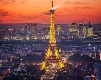 Eiffel Tower Paris at Sunset - 8x10 Fine Art, Print Paris Decor, Eiffel Tower Photograph, Paris Print, Travel Photo Eiffel Tower Decor Print