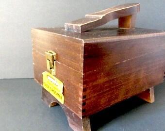 Vintage Shoe Cleaning box, hand made box, Wooden shoe box, shoe groomer box, kiwi shoe cleaner, 70s wooden box, rustic box,kiwi shoe groomer