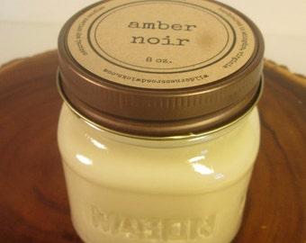 Amber Noir 8 oz Soy Mason Jar Candle // Wood Wick //