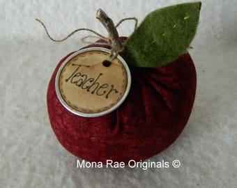 """Apple Teacher Gift ~ 4"""" Red Apple Teacher Gift with Teacher Tag ~ Teacher Day Gift, Birthday Gift, Student Gift"""