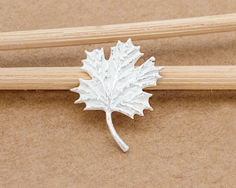 1 of 925 Sterling Silver Maple Leaf Charm 12x14mm. Matte Finished  :th2548
