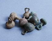 Set of 6 Antique miniature metal charms, buttons, dark patina (n1)