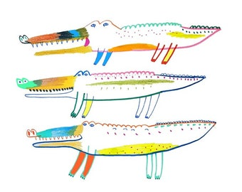 Crocodiles. wall art, kids room art, childrens wall decor, art prints, illustration art, nursery art.