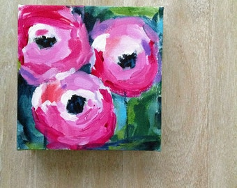 Small original floral painting // 6x6 original painting // flowers painting #3 // art